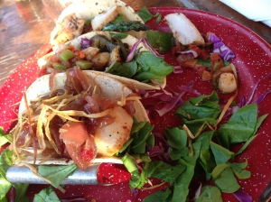 taco tuesday!!! A scallop, shrimp, and mahi mahi