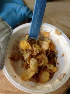 plain greek yogurt with chocolate whey protein and honey bunches of oats