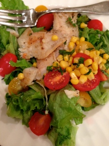 salad with tilapia tomatoes and corn