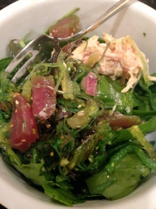 salad with tuna, seaweed salad, and lobster salad on top