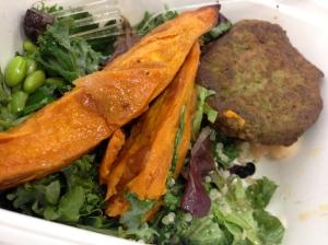 lettuce, falafel, sweet  potato wedges,edamame, quinoa