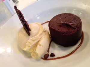 Steamed chocolate cake with salted caramel ice cream from Luke
