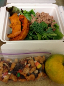 packed lunch of mixed greens, kale, tuna fish, sweet potato wedges, some other random veggies under there, trail mix with candy corn, and a satsuma
