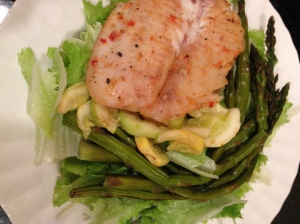 fish (a different sauce this time) lettuce, asperagus, zucchini and squash