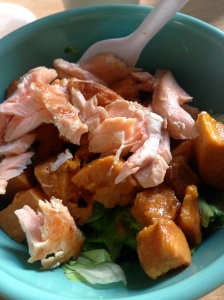 butter lettuce salad with sweet potatoes and salmon