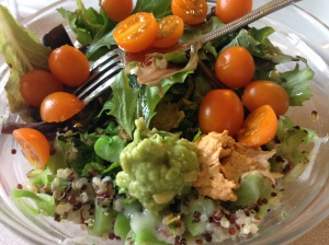 Sunday Lunch of cheesy quinoa salad with brussel sprouts, cherry tomatoes, hummus and quac