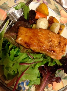 Sunday Dinner of salmon, mixed greens, and root vegetables