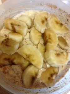 Monday Breakfast of pumpkin overnight oats with banana on top