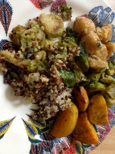 Tuesday Lunch of quinoa/cheesy/brussel sprouts, roasted turnips, and sweet potato gnocchi