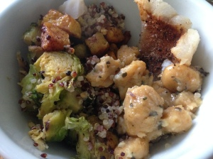 brussel sprouts and cheesy quinoa, sweet potato gnocchi, and squash