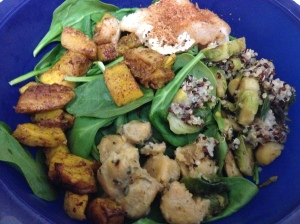 spinach with squash, brussel sprouts and cheesy quinoa, and baked cod