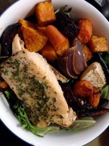 salmon, salad, squash