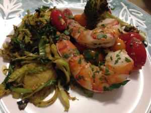 brussel sprouts, tomatoes, and shrimp