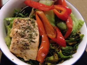 salad with peppers, bussel sprouts, and salmon
