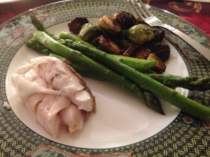 red snapper, asperagus, and brussel sprouts