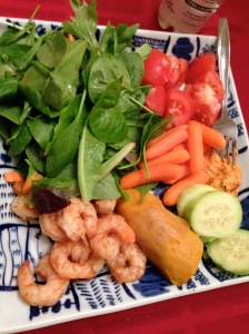 spinach salad, tomatoes, carrotts and hummus, cucumber, sweet potato and shrimp