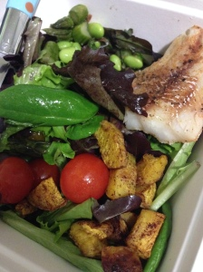 Tuesday Dinner- mixed greens with cherry tomatoes, cajan spice cod, roasted squash, and edamame and asperagus
