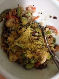 quinoa and brown rice, mixed veggies, canned crab, and nutritional yeast