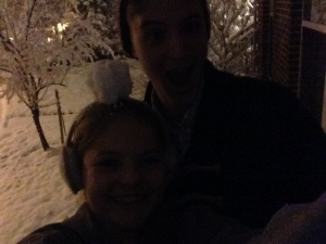 first snow in awhile, Shane put a snowball on my head