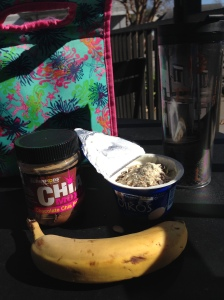 coffee, plain greek yogurt with pumpkin protein powder and musili, banana and peanut butter