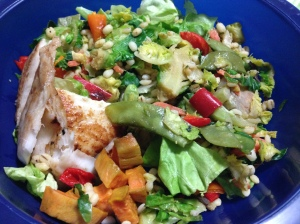salad with barley salad and sweet potatoes and tilapia
