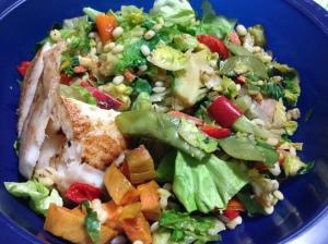 salad with barley salad and sweet potatoes and tilapia