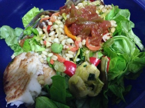butter lettuce with tilapia, barley salad, and salsa