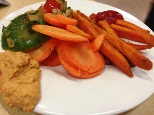 carrots and hummus, green peppers/tomatoes, and sweet potato fries