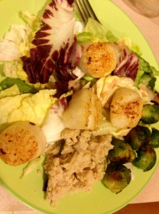 butter lettuce, brussels, scallops, and mashed white beans with lemon and olive oil
