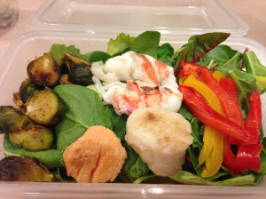salad with brussels, peppers, scallops and lobster