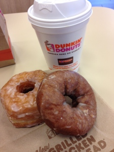 pumpkin coffee, pumpkin donut & croissant donut.. ate 1/2 of each cause i wanted to try both