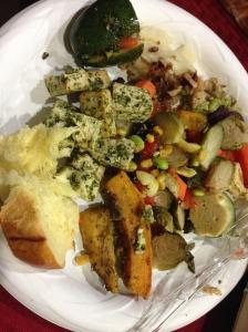 my plate- brioche, pesto tofu, hummus & veggies, quinoa salad, stuffed zucchini, potato casserole, squash