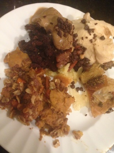 dessert plate! pumpkin pie w/ crumble topping, gf caramel apple brownie, baklavah, coffee frozen yogurt w/ sprinkles and some pecan pie (insides only-not a crust person)