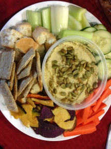 Thanksgiving hummus and veggies