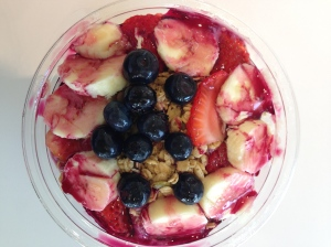 jamba juice banana berry bowl plus I added pb2 post picture