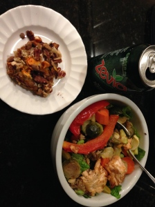 salad with peppers, brussels sprouts, quinoa, salmon and sweet potato casserole on the side