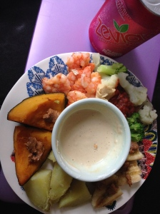 kabocha, shrimp, veggies, with pb greek yogurt dip