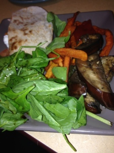 spinach salad, mushrooms, chickpea pita, sweet potato fries