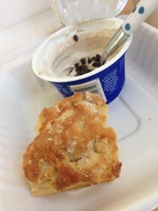greek yogurt with granola and the best biscuit ever!!