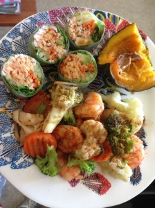 sushi, kabocha and veggies with shrimp