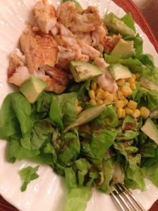 salad with tilapia, corn, avocado