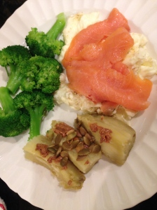 egg whites with smoked salmon, broccoli and japanese potato with peanut butter
