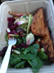 Whole Foods salad bar- spinach, beets, beyond meat chicken strips, sweet potato wedges, random veggie salads