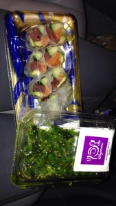 sushi and seaweed salad!!