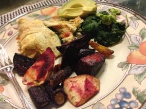 eggs with sautéed kale, beets, parsnips and avocado