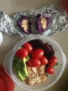 purple sweet potato with cashew butter, salad with beets, tomatoes, avocado, and salmon