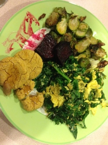 eggs with brussels sprouts, beets, pumpkin biscuits, and kale