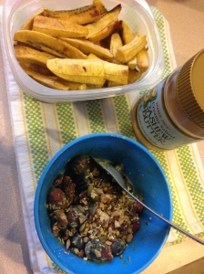 lots of plantains with cashew butter, blueberries with almond milk, spirillina powder, coconut flour, and granola