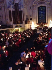 Naval Academy church, candle lighting