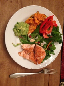 plate 1/2 of salmon, peppers, salad, guacamole and sweet potatoes